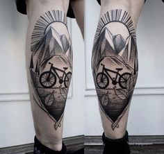 90 Landscape Tattoos For Men - Scenic Design Ideas Cycling Tattoo, Bicycle Tattoo, Cycling Art, Cycling Jerseys, Tattoos Masculinas, Bike Tattoos, Tattoos For Guys, Calf Tattoos, Tattoo Arm