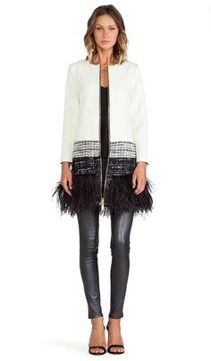 MILLY Feather Trim Jacket in White Multi   REVOLVE