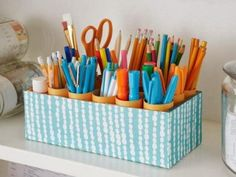 DIY Ideas With Shoe Boxes - Desk Caddy - Shoe Box Crafts and Organizers for Storage - How To Make A Shelf, Makeup Organizer, Kids Room Decoration, Storage Ideas Projects - Cheap Home Decor DIY Ideas for Kids, Adults and Teens Rooms Desk Organization Diy, Home Office Organization, Diy Desk, Organizing Ideas, Organizing School, Stationary Organization, Organising, Desk Caddy, Art Caddy