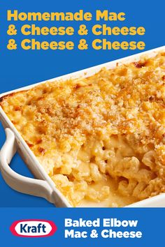 Side dish or main, this homestyle Baked Elbow Mac & Cheese has all the cheddar, mozzarella, parmesan and blue cheese to fill your cheesy needs this Memorial Day. Macaroni Cheese Recipes, Mac Cheese, Blue Cheese, Baked Macaroni, Crockpot Recipes, Fast Recipes, Copycat Recipes, Casserole Recipes, Baking Recipes
