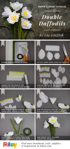 daffodil paper flower tutorial, Lia Griffith, paper flowers, DIT paper flowers,