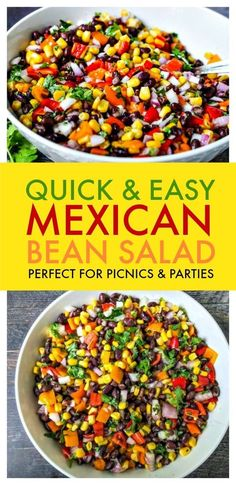This Mexican Three Bean Salad is quick, easy and the perfect make-ahead recipe. This protein-rich vegan salad is loaded with Mexican flavours and always a favourite! The perfect no-mayo side salad for picnic and barbecue season, plus it makes fabulous healthy packed lunches! #best #easy #healthy #recipe #nomayosalad #summersalad #bbq #picnic #glutenfree #3beansalad #vegetarian #Mexicanfood Mexican Bean Salad, Mexican Salads, Mexican Food Recipes, Picnic Side Dishes, Kids Party Snacks, Healthy Packed Lunches, Three Bean Salad, Bean Salad Recipes, Healthy Sides