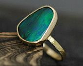 Black Opal in Recycled 18k Yellow Gold Ring- Made to Order