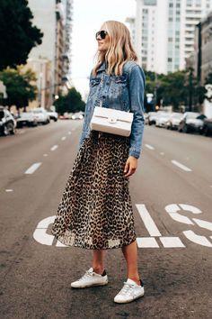 Fashion Jackson Wearing Ganni Leopard Midi Dress Denim Jacket Golden Goose Sneakers White Chanel Handbag Source by maadeewithlove denim Jupe Midi Leopard, Leopard Dress, Mode Outfits, Casual Outfits, Fashion Outfits, Dress Casual, Midi Dress Outfit, Swag Dress, Jean Outfits