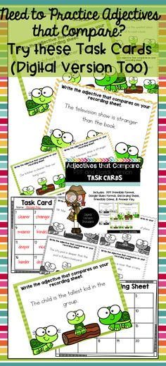 Adjectives that Compare Task Cards and Game (Digital Version Included) Back To School Activities, Classroom Activities, Classroom Ideas, Reading Activities, Common Core Math, Common Core Standards, Grammar Skills, Grammar Lessons, Motivational Activities
