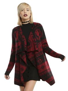 It might not be appropriate to wear your cape everywhere you go, they might catch on that you're a baddie. Don't worry though, we've got you covered. This red fly away cardigan has enough subtle hints to foreshadow your end game; featuring poison apples, daggers, dragons, crows, and the silhouettes of Malificent and The Evil Queen, it's just bad enough for you.    100% acrylic  Wash cold; dry low  Imported  Listed in junior sizes