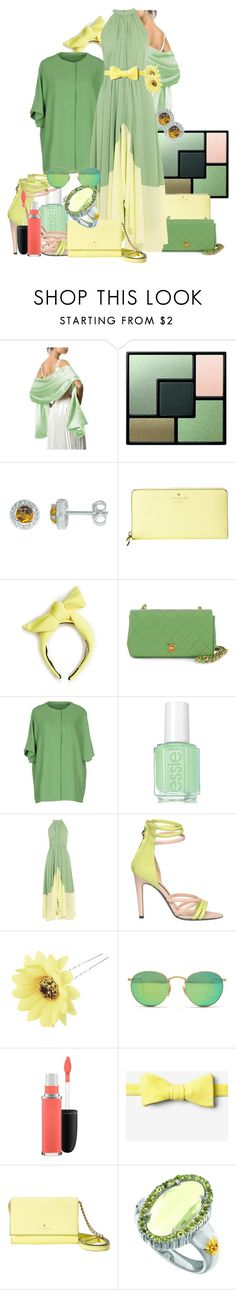 """""""Summer in Green"""" by arts22 ❤ liked on Polyvore featuring Yves Saint Laurent, BillyTheTree, Kate Spade, Benoît Missolin, Chanel, Annie P., Essie, Saloni, Patrizia Pepe and Chicnova Fashion"""
