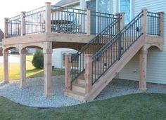 Cedar Deck - Westbury Riviera II sleeved between dedar posts - Ugly Deck terrasse, Deck Railing Design, Deck Railings, Railing Ideas, Metal Deck Spindles, Aluminum Deck Railing, Cable Railing, Patio Design, Garden Design, Cedar Deck