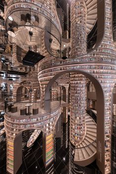 Chengdu, Bookstore Design, Tall Bookshelves, Mirror Ceiling, Glass Curtain, Living In China, Labyrinth, Beautiful Library, Black Tiles