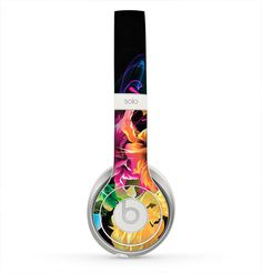The Abstract Bright Neon Floral Skin for the Beats by Dre Solo 2 Headphones