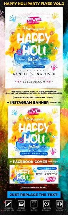 #Happy #Holi #Party Flyer vol.2 - Holidays Events