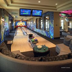 Man cave - In Home Bowling Alley = sweet! insane laughing clown not included.