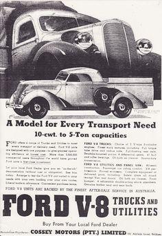 Ford Australia 1937 roadster ute advert.