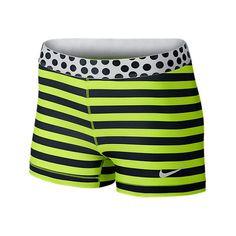 Nike Women's Pro Stripe And Dot Compression Dri Fit Shorts-Small-Yellow: Women's Running Shorts Nike Pro Shorts, Running Shorts, Women's Shorts, Triathlon Gear, Compression Shorts, Workout Wear, Workout Outfits, Nike Pros, Nike Sportswear
