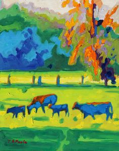 Texas Cows at Sunset giclee print Bertram Poole by bertrampoole