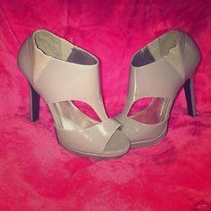 Gray Heels Open toe bootie heels. Only worn twice and still in box. Shoes Heels