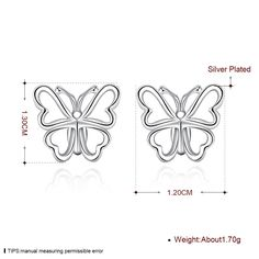 Aliexpress.com : Buy High quality New Elegant 925 stamped Silver Plated Smooth Bow Butterfly Stud Earring For Women Dance/Party Accessories Free from Reliable Stud Earrings suppliers on Rose Fashion Jewelry CO., LTD.