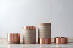 Copper and Wood Canisters Home Decor Accessories, Decorative Accessories, Copper Interior, Pots, Assemblage, Industrial Design, Design Projects, Cool Designs, Bronze