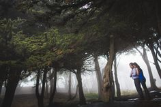 San Francisco, CA engagement session in the fog at Land's End, by The Rasers.