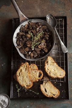 Mushroom ragout on oven baked toast on DrizzleandDip.com | photography - Samantha Linsell