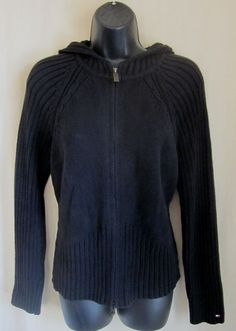 TOMMY HILFIGER Women's Black Full Zip Hoodie Sweater L Large Made in JAPAN #TommyHilfiger #Hooded