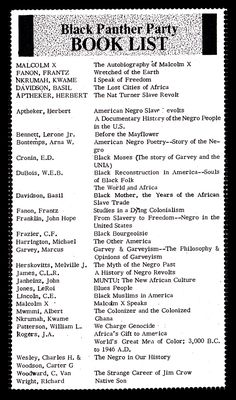 Black Panther Party Reading List. Frantz Fanon http://depts.washington.edu/labpics/repository/d/6349-1/BPP-BookList.pdf