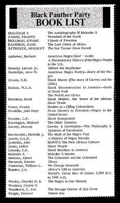 Black Panther Party Reading List. Frantz Fanon http://depts.washington.edu/labpics/repository/d/6349-1/BPP-BookList.pdf