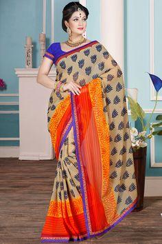 Orange designer printed sarees online from Easysarees