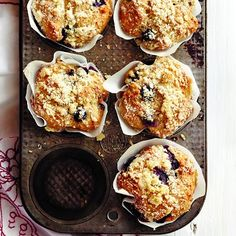 With a crispy streusel topping, fresh berries and nutty wholewheat, these aren't your everyday blueberry muffins. Get the recipe at Chatelaine.com!