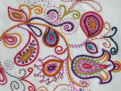 Embroidery vine on white linen | Hand embroidered on a hand … | Flickr