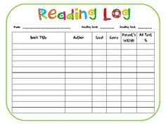Free Reading Log Simple Template Cute Graphics And Giving A