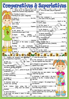 English Teaching Resources, English Grammar Worksheets, 1st Grade Worksheets, English Vocabulary, Adverbs Worksheet, Grammar Exercises, English Games, Idioms, English Language