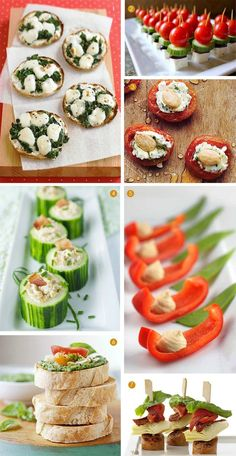 1. Mini Spinach Pizzas, Martha Stewart Living 2. Bite Size Greek Salad, Cooking With My Kid 3. Appricots and Cheese, My Recipes 4. Cucumber Cups, Celebrations at Home 5. Red Peppers and Hummus, Frost Me 6. Pesto and Tomatoe Bruschetta, Recipe 7. Antipasto-Sausage, Food Network