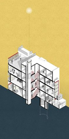 Galería de Casa entre un Pozo y una Torre de Luz / Harsh Vardhan Jain Architects - 25 Section Drawing Architecture, Collage Architecture, Architecture Drawing Sketchbooks, Architecture Graphics, Education Architecture, Concept Architecture, Landscape Architecture, Architecture Design, Residential Architecture