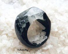 Black raver ring Gothic ring Wood ring Resin ring Black wood resin rings Black crow ring Nature ring for men women girlfriend boyfriend