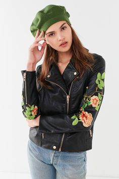 BLANKNYC Floral Embroidered Moto Jacket | Urban Outfitters