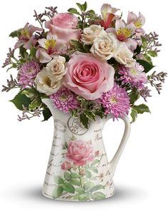 Fill her heart with a fabulous, feminine bouquet of pink, cream and lavender blooms made all the more enticing in a charming pitcher. Featuring a hand-applied vintage botanical motif, the food-safe ceramic design is destined to be her favorite way to pour cream in her coffee or serve OJ in the morning!