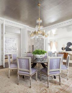 rosewood highrise - Collins Interiors dining room silver leaf wallpaper ceiling dentil mouldings