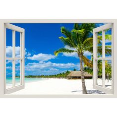 Window Frame Mural Tropical Beach Huge size Peel and Stick