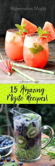 15 Mojito Recipes -- even a low sugar option!! My favorite Summer cocktail. So refreshing!!!