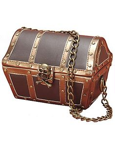 Pirate Purse is a small treasure chest with chain shoulder strap. sonsi.com