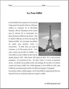 French: Compr�hension de lecture n/b�la Tour Eiffel - Reading comprehension activity with questions. b/w Activit� de compr�hension avec des questions. n/b