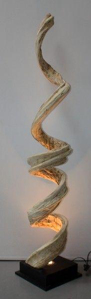 Lampe liane Déco Design en Bois Flotté 6B - H200cm - 379€ -  sodezign.com