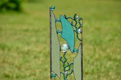 Medium Size Stained Glass Yard Art, Garden Sculpture, Garden Decor, Choice of Stake to Plant or Hanging Stained Glass Panel, 'Tidal Pool' by WindsongGlassStudio on Etsy https://www.etsy.com/listing/236982009/medium-size-stained-glass-yard-art