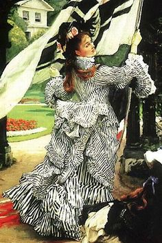 James Jacques Joseph Tissot - Close up of Still on Top Historical Costume, Historical Clothing, Beaux Arts Paris, The Costumer, 19th Century Fashion, Woman Painting, Dress Painting, French Artists, Fashion Plates