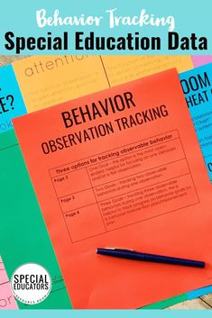 Behavior tracking for special education - observations, target goals, function, and more. Find the forms you need from Special Educators Resource Room. #behaviortracking #specialeducation