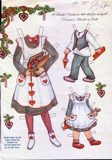 Really beautiful (swiss?) Christmas paper dolls. !2 sheets. 2 little kids and a mom. Baking, playing in the snow, pets, decorating, etc