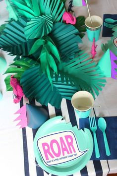 We celebrated with a cool modern dinosaur birthday party. The jungle dinosaur bash with aqua, navy & coral decorations was dino-mite! Third Birthday, 4th Birthday Parties, Birthday Ideas, Animal Themed Birthday Party, Birthday Gifts, Birthday Cake, Dinosaur Party Decorations, Coral Decorations, Dinosaur Party Favors