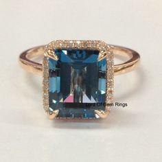 London Blue Topaz Diamond Engagement Ring,8x10mm Emerald Cut,Solid 14K Rose Gold
