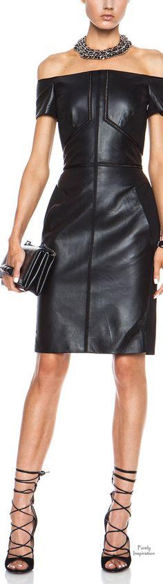 J. Mendel off the shoulder black leather dress #UNIQUE_WOMENS_FASHION